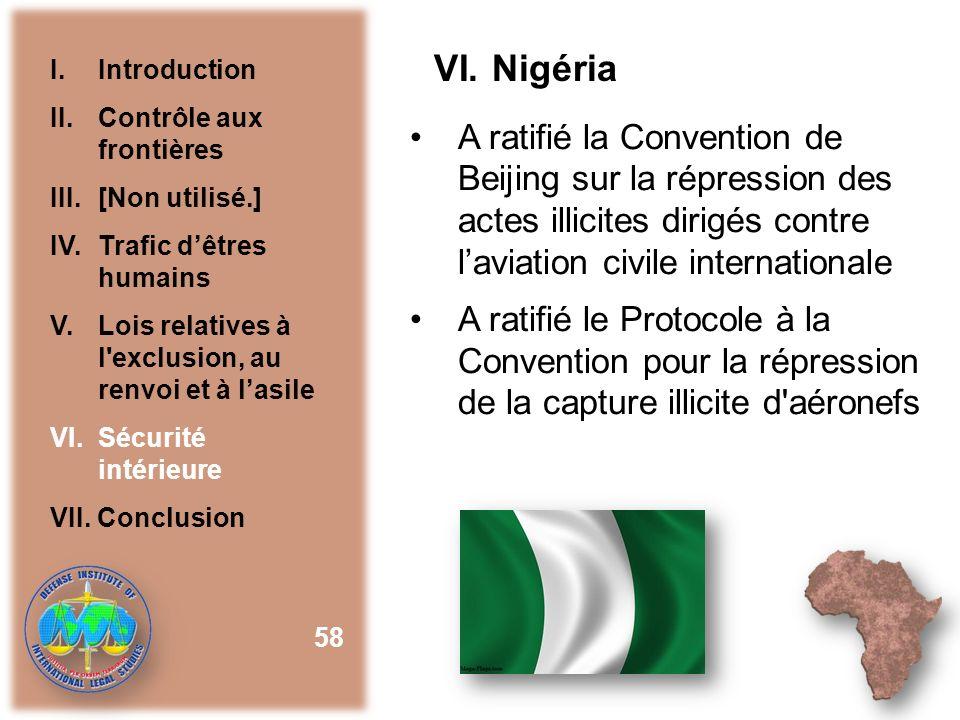 VI. Nigéria I. Introduction. II. Contrôle aux frontières. III. [Non utilisé.] IV. Trafic d'êtres humains.